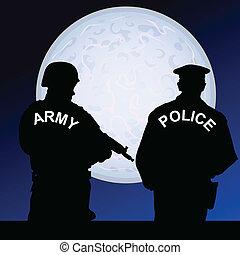 kleur, maanlicht, soldaat, vector, politieagent