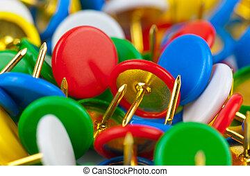 kleur, macro, pushpins, aanzicht