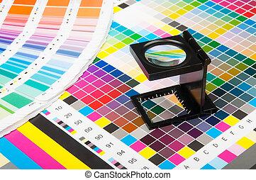 kleur, management, in, afdrukken, fabriekshal