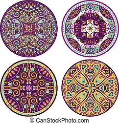kleur, mandala, set, 4