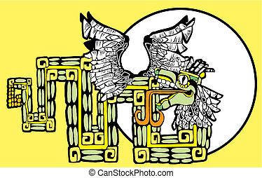 kleur, mayan, kukulcan, beeld