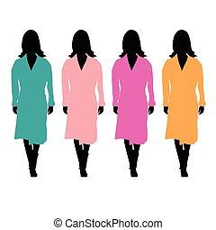 kleur, meisje, badjas, illustratie
