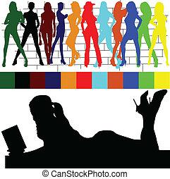 kleur, meisje, illustratie