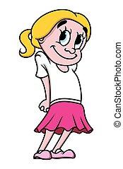 kleur, meisje, vector, illustratie