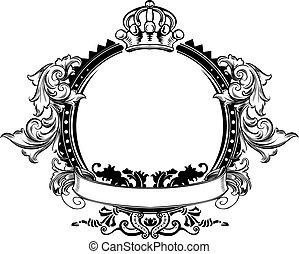 kleur, meldingsbord, een, sierlijk, bochten, ouderwetse , kroon