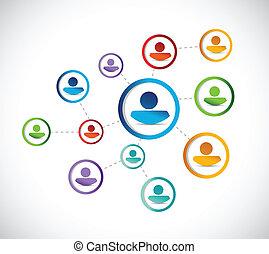 kleur, mensen, connection., illustratie, netwerk
