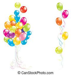 kleur, mooi, vector, feestje, ballons