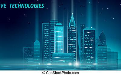 kleur, neon, cityscape., blauwe , stad, concept., gloeiend, vector, online, intelligent, smart, 3d, stedelijke , zakelijk, web, illustratie, automatisering, spandoek, gebouw, technology., toekomst, nacht, futuristisch