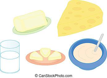 kleur, ontbijt, set