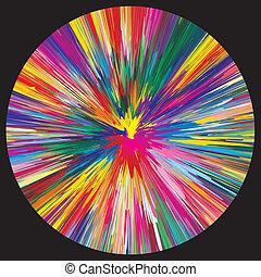 kleur, ontploffing, op, zwarte achtergrond
