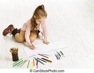 kleur, opleiding, artistiek, potloden, kind, meisje, schilderij, tekening, geitje