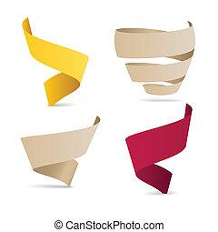 kleur, origami, linten