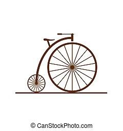 kleur, oude fiets, illustratie