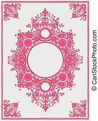 kleur, ouderwetse , frame, roze, illustratie