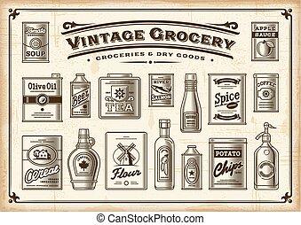 kleur, ouderwetse , kruidenierswinkel, set., een