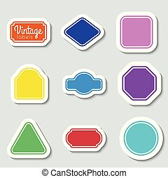 kleur, ouderwetse , set., etiketten, vector, ontwerp, lijstjes