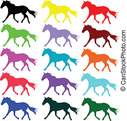 kleur, paarde, vector, silhouettes