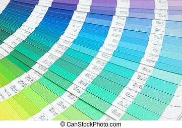 kleur, paarse , -, groene, gids