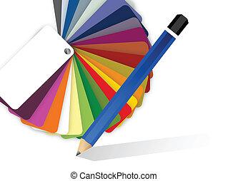kleur, pallet, potlood tekenen