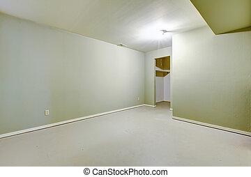 kleur, pantry., lege, ivoor, kamer, kelderverdieping