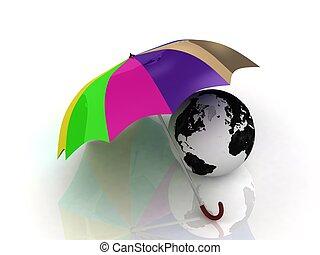 kleur, paraplu, globe, onder