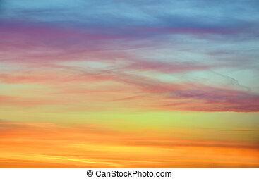 kleur, pastel, hemel, ondergaande zon