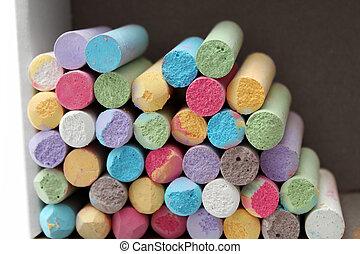 kleur, pastel, krijt