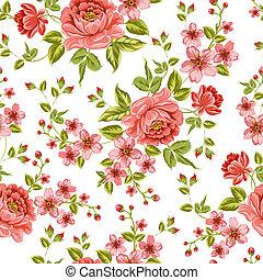 kleur, pattern., peony, luxueus
