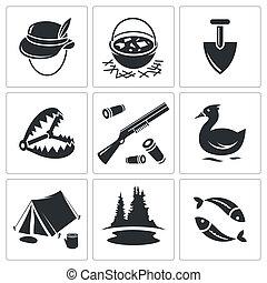kleur, pictogram, verzameling, jacht, visserij
