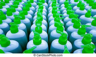 kleur, plastic flessen, in, een, row.