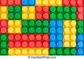 kleur, plastische speelbal, bakstenen