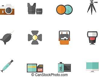 kleur, plat, fotografie, -, iconen