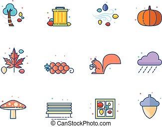 kleur, plat, herfst, -, iconen