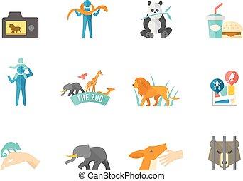kleur, plat, iconen, -, dierentuin