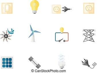 kleur, plat, iconen, -, elektriciteit