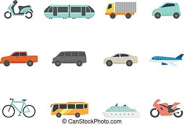 kleur, plat, iconen, -, vervoer