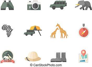 kleur, plat, -, safari, iconen