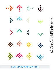 kleur, plat, set, pijl, vector