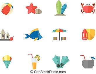 kleur, plat, -, strand, iconen