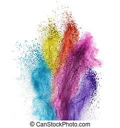 kleur, poeder, ontploffing, vrijstaand, op wit