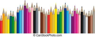 kleur, potloden, beeld, vector, -