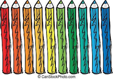 kleur, potloden, schets