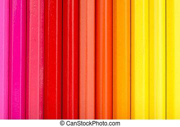 kleur, potloden, warme