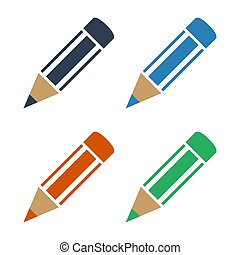 kleur, potloden, witte , set, achtergrond.