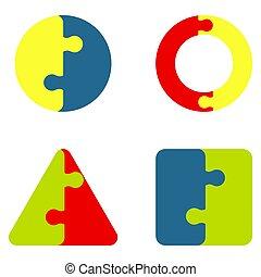 kleur, raadsel, jigsaw