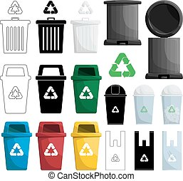 kleur, recycl bak, illustratie