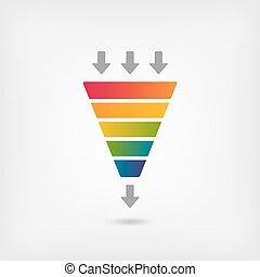 kleur, regenboog, trechter, marketing