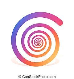 kleur, regenboog, witte , spiraal, achtergrond.