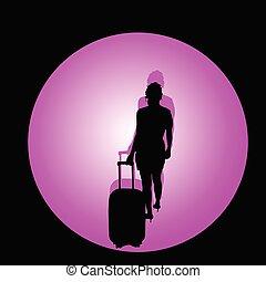 kleur, reizen, illustratie, zak, vector, meisje