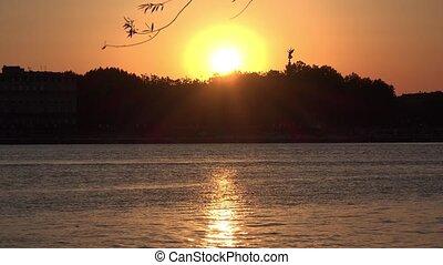 kleur, rivier, ondergaande zon , nemen, goud